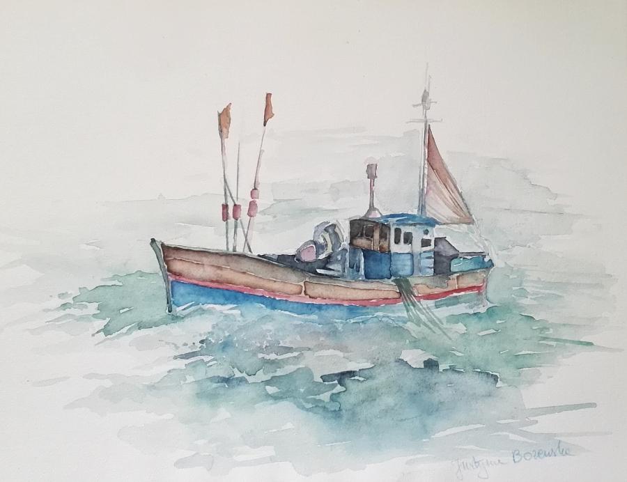 aquarelle bretagne bateau pecheur