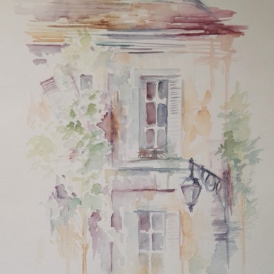 aquarelle immeuble ville