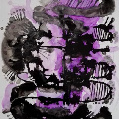 illustration dessin abstrait serpent noir