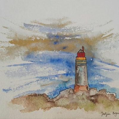 phare en bretagne france aquarelle 3