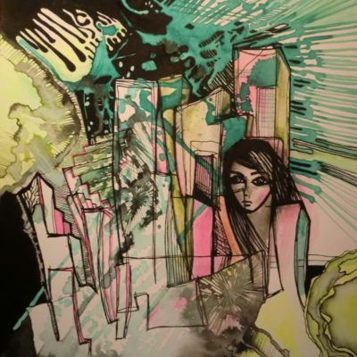 tableau ancre de chine feutres couleurs abstrait 11