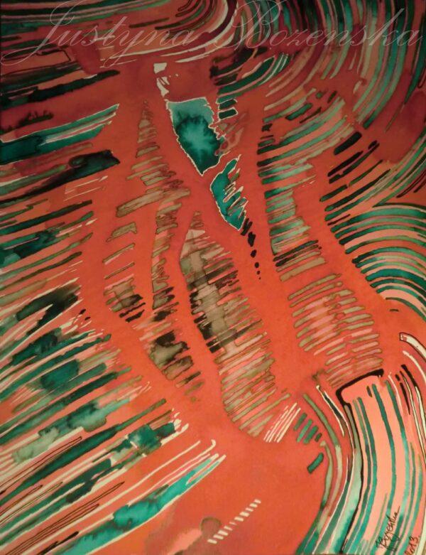 tableau ancre de chine feutres couleurs abstrait 15