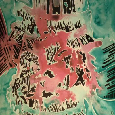 tableau ancre de chine feutres couleurs abstrait 7