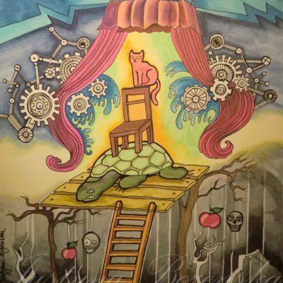 tableau ancre de chine feutres couleurs abstrait 8