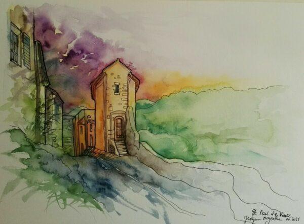 aquarelle saint paul de vence 1